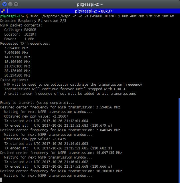 WSPR (Tx) on Raspberry Pi | PAØROB
